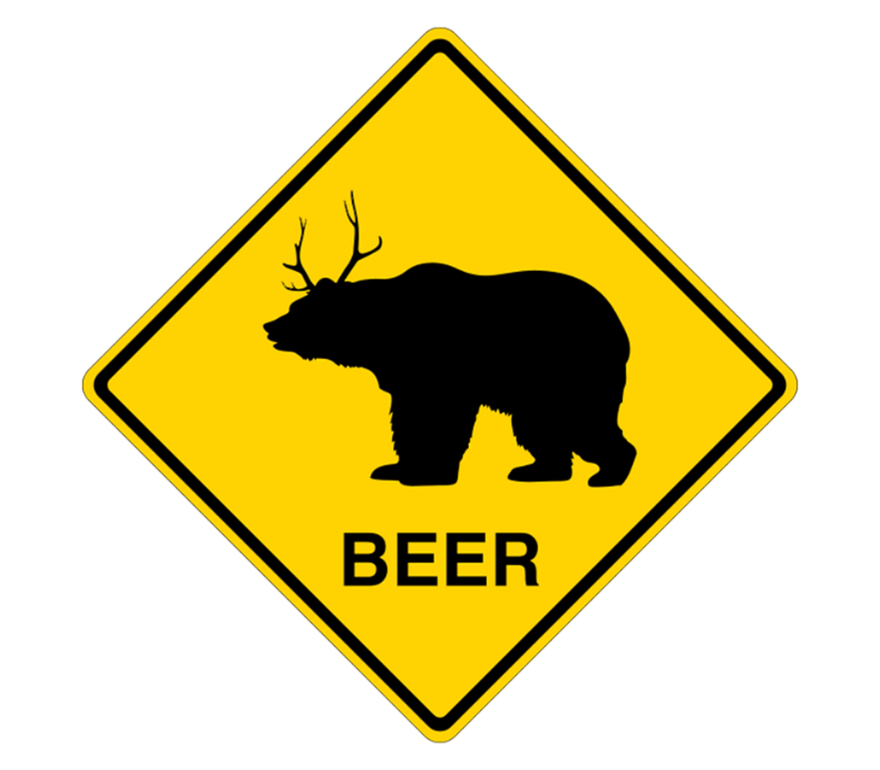Beer Bear Deer Crossing Sign