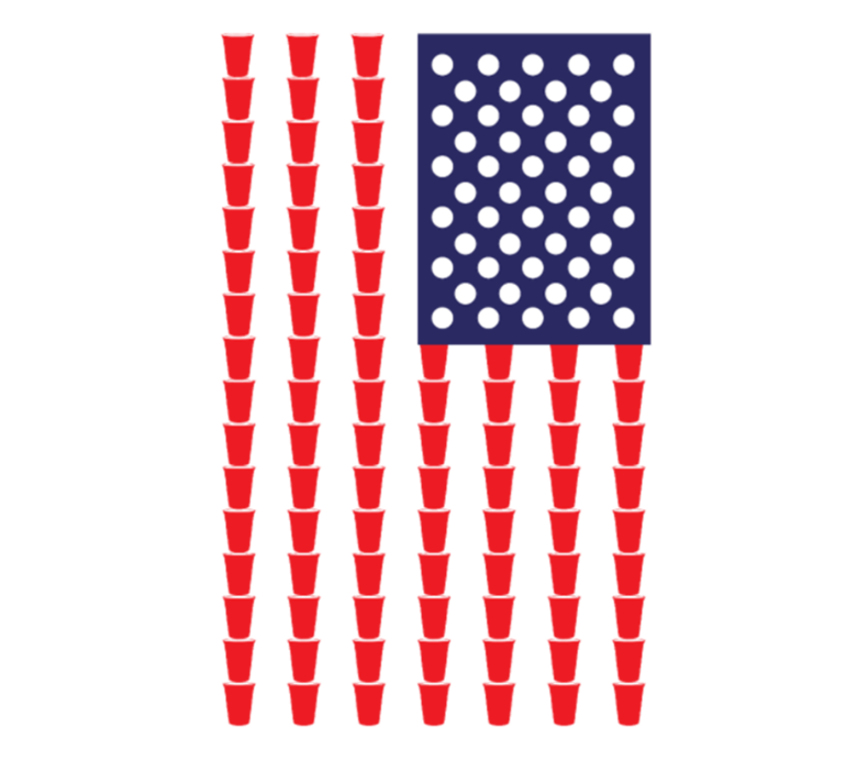 Beer Pong American Flag