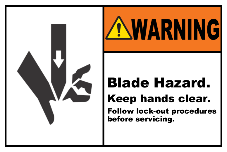 Blade Hazard Keep Hands Clear