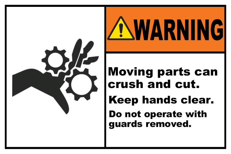 Moving Parts Can Crush & Cut