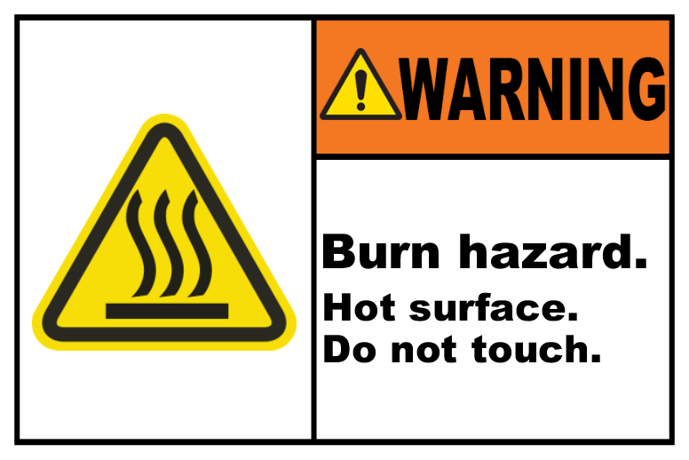 Burn Hazard Hot Surface