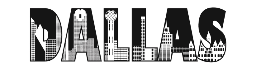 Dallas Text With Buildings Outline Drawing