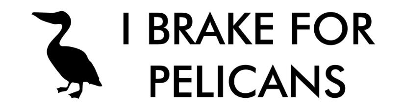 I Brake For Pelicans