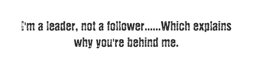 Im A Leader Not A Follower Which Explain