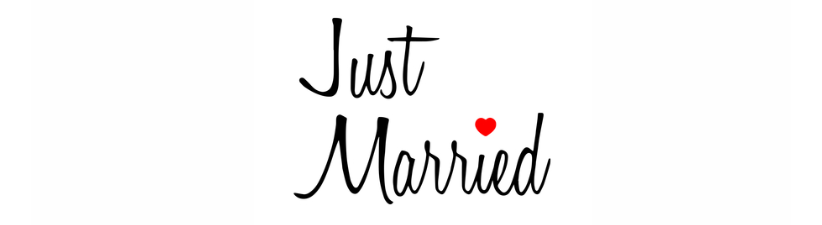 Just Married Script With Red Heart