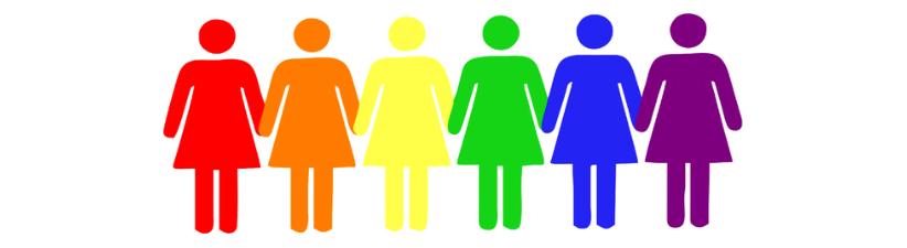 Lesbian Rainbow Women Gay Pride Holding Hands