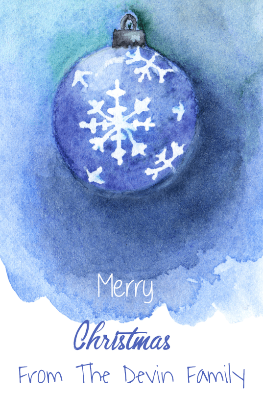Watercolor Snowflake Ornament