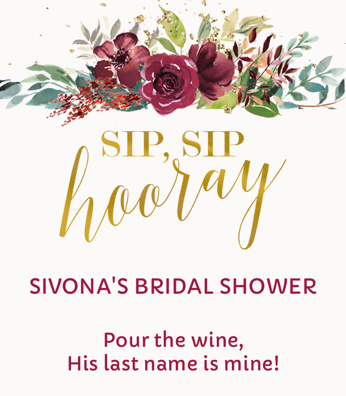 image relating to Sip Sip Hooray Printable identified as Sip Sip Hooray Bridal Wine Label