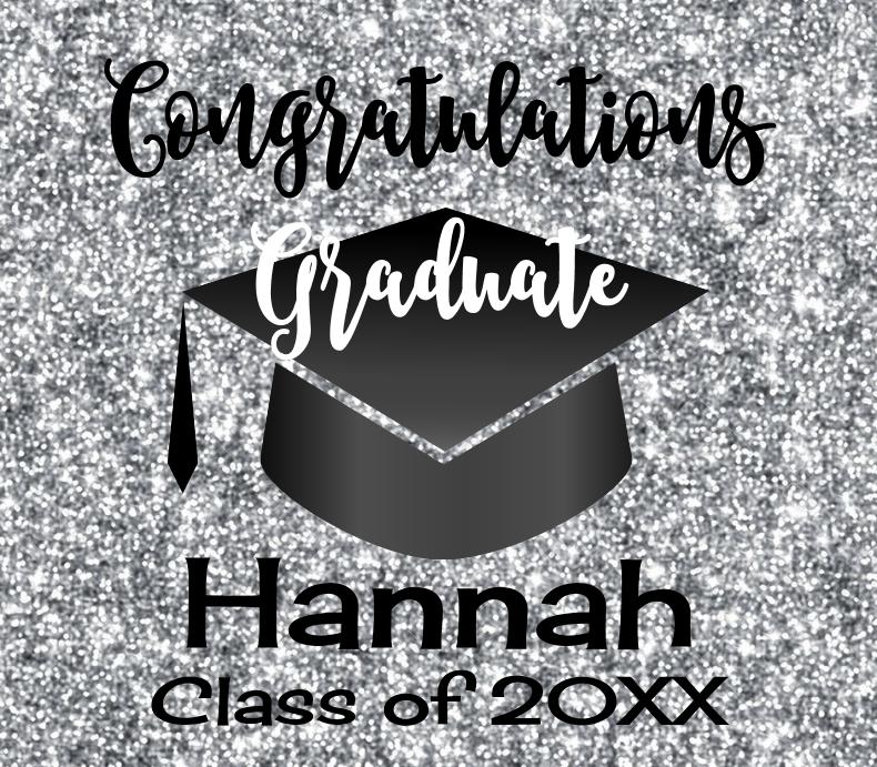 Graduation Silver Glitter