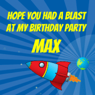 Birthday Sticker - Space Rocket