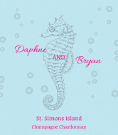 Wedding Wine Label - Seahorse
