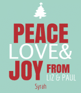 Holiday Wine Label - Peace Joy Love