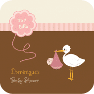 Baby Drink Coaster - Stork Pink