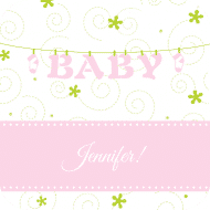 Baby Drink Coaster - Baby Clothesline Pink