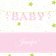 Baby Sticker - Baby Clothesline Pink