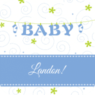 Baby Drink Coaster - Baby Clothesline Blue