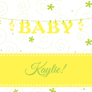 Baby Sticker - Baby Clothesline Yellow