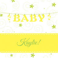 Baby Drink Coaster - Baby Clothesline Yellow