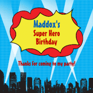 Birthday Sticker - Calling All Super Heroes