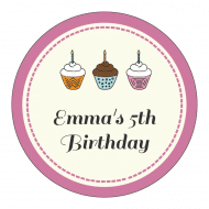 Birthday Sticker - Cupcakes