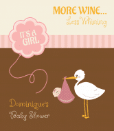 Baby Wine Label - Stork Pink