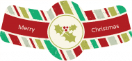 Holiday Bottle Neck Label - Christmas Holly