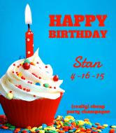 Birthday Champagne Label - Birthday Cupcake