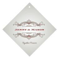 Wedding Wine Hang Tag - Vintage Scroll Frame