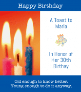 Birthday Wine Label - Candles
