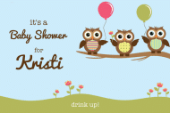 Baby Mini Wine Label - Owls