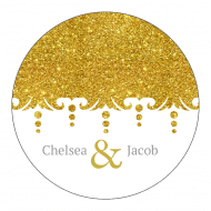 Celebration Sticker - Gold Glitter
