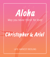 Wedding Wine Label - Aloha
