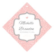 Wedding Wine Hang Tag - Pink and Gray