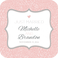 Wedding Drink Coaster - Pink and Gray