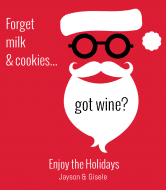 Holiday Wine Label - Hipster Santa