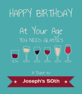 Birthday Wine Label - Birthday Glasses