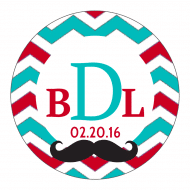 Wedding Label - Mustache Chevron