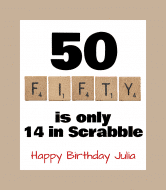 Birthday Wine Label - Scrabble Fifty