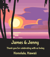 Wedding Wine Label - Hawaiian Sunset