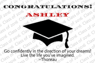 Graduations Mini Champagne Label - Black Graduation Cap