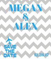 Wedding Champagne Label - Airplane Chevron