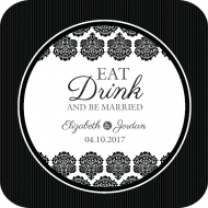 Wedding Drink Coaster - Black & White