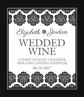 Wedding Wine Label - Black & White