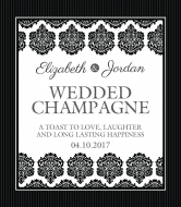 Wedding Champagne Label - Black & White