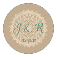 Wedding Sticker - Burlap and Lace