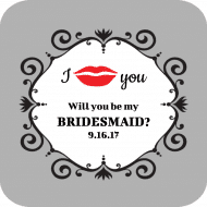 Wedding Drink Coaster - Red Lips
