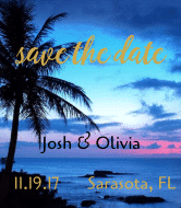 Wedding Wine Label - Save The Date Sunset