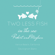 Wedding Mini Wine Label - Two Less Fish
