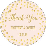 Wedding Label - Thank You Glitter