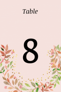Wedding Table Number Label - Pastel Floral